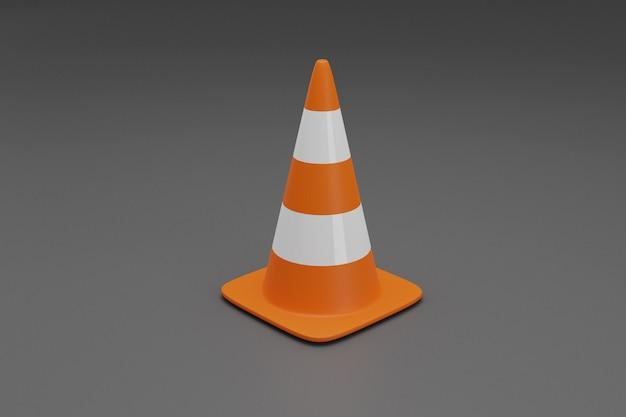 Stożki drogowe z biało-pomarańczowymi paskami