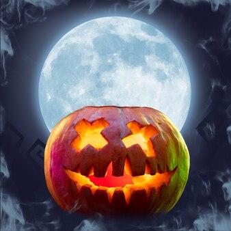 Straszna dynia na tle księżyca, noc strachu. nowoczesny design. happy halloween, czarny piątek, cyber poniedziałek, sprzedaż, koncepcja jesień. ulotka reklamowa. kolaż sztuki współczesnej.