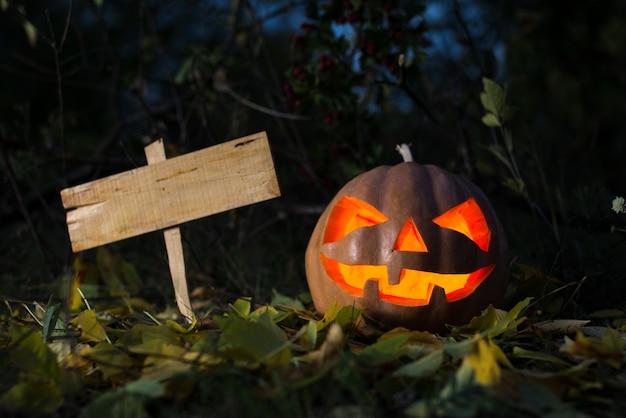 Straszna halloweenowa dynia i stara deska dla teksta