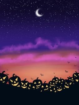 Straszna noc helloween z przerażającą tapetą z dyni