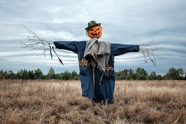 Straszny strach na wróble z głową dyni halloween w polu w pochmurną pogodę.