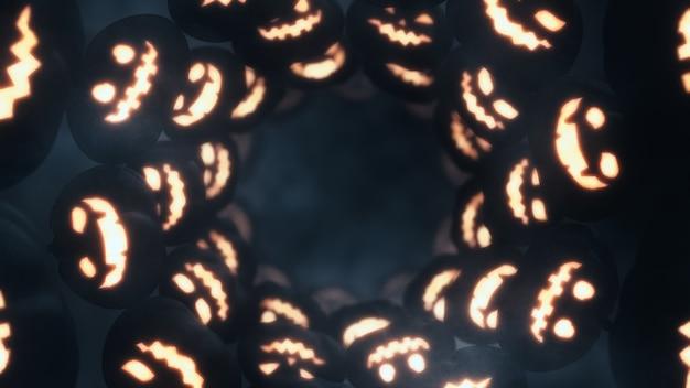 Straszny tunel dyni halloween i straszny dym z copyspace 3d renderowania tła