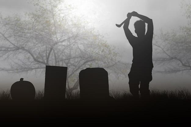 Straszny zombie z krwią i raną na ciele trzymający sierp chodzący na tle nocnej sceny