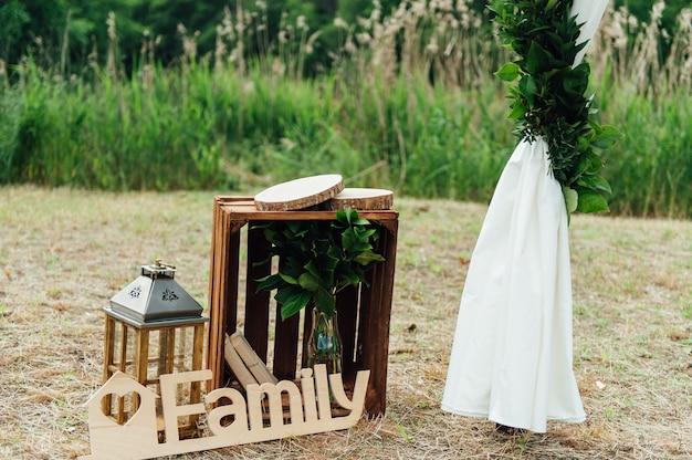 Strefa zdjęć ślubnych. dekoracja.