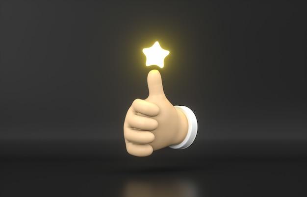 Streszczenie 3d cartoon kciuk w górę rękę z gwiazdą oceny neon ikona.