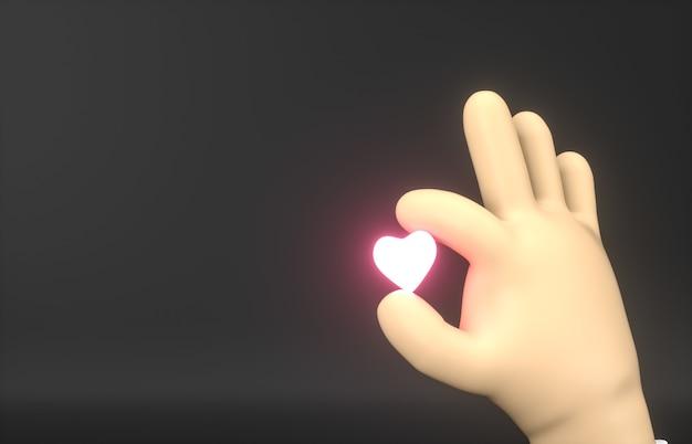 Streszczenie 3d cartoon ręka trzyma mini neonową ikonę serca.