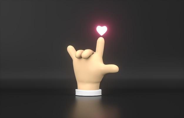 Streszczenie 3d cartoon ręka wskazuje na ikonę neonu mini serca.