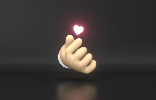 Streszczenie 3d cartoon ręka z mini neonową ikoną serca.