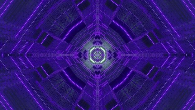 Streszczenie 3d ilustracja geometrycznego tunelu o ciemnoniebieskim kolorze z neonowym oświetleniem
