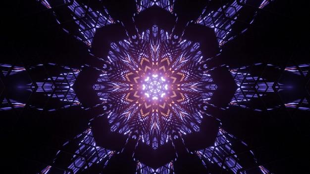 Streszczenie 3d ilustracja jasny wzór kątowy poli otoczony promieniami geometrycznymi na czarnym tle
