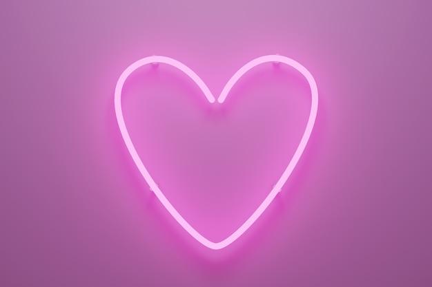 Streszczenie 3d ilustracją różowego światła neonowego w kształcie serca.