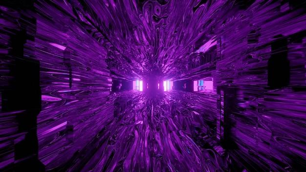 Streszczenie 3d ilustracja surrealistycznego futurystycznego tunelu z zniekształconymi ścianami w kolorze fioletowym