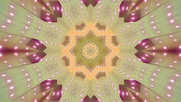 Streszczenie 3d ilustracja symetrycznego ornamentu w kształcie gwiazdy świecącej neonowym światłem i tworzącej kalejdoskopowy tunel