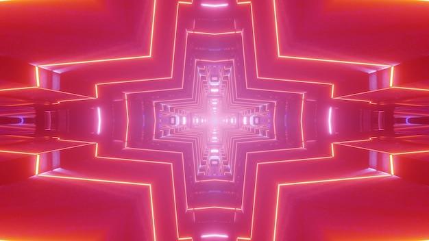 Streszczenie 3d ilustracja żywe czerwone linie neonowe świecące i tworzące tunel w kształcie krzyża