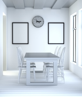 Streszczenie 3d jadalnia wnętrze z białym stołem i krzesłami.