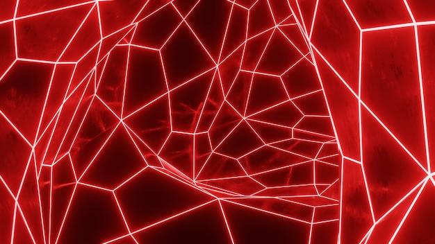 Streszczenie 3d render powierzchni siatki neon.