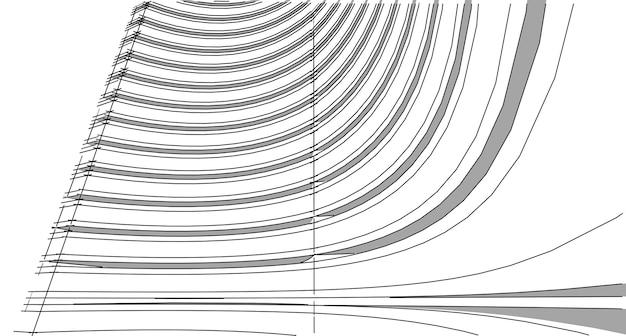Streszczenie 3d struktura szkieletowa budynku. ilustracja konstrukcja graficzny pomysł, architektoniczny pomysł szkicu.