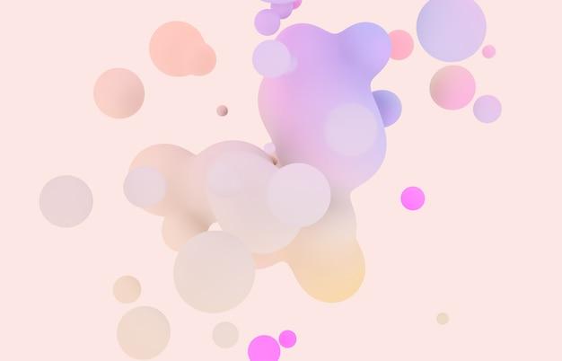 Streszczenie 3d sztuka tło. holograficzne pastelowe pływające kropelki cieczy, bańki mydlane, metabelki.
