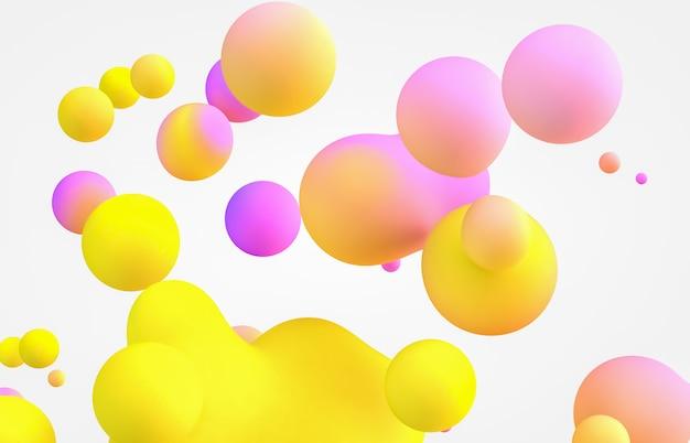 Streszczenie 3d sztuka tło. holograficzne pływające kropelki cieczy, bańki mydlane, metabelki.