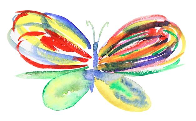 Streszczenie akwarela ręcznie rysowane motyla