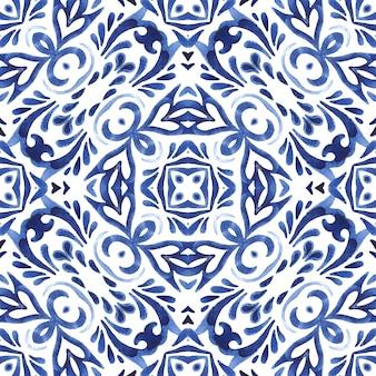 Streszczenie bezszwowe ozdobne akwarela adamaszku arabeska farby wzór. projekt płytek ceramicznych w stylu portugalskim