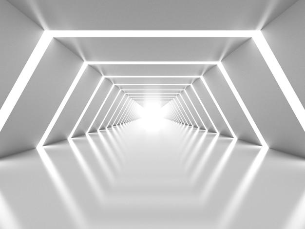 Streszczenie białe lśniące wnętrze tunelu