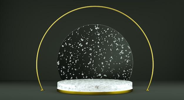 Streszczenie białe tło z etapem kształtu geometrycznego dla produktu. minimalna koncepcja. renderowanie 3d