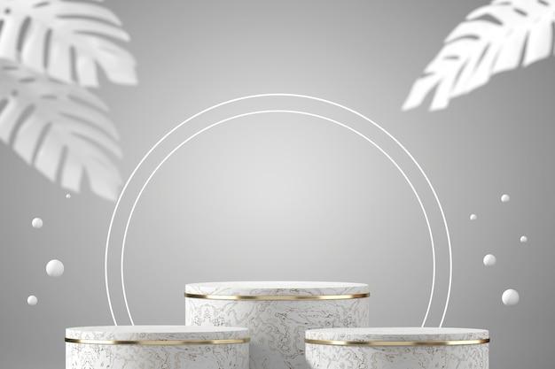 Streszczenie biały marmurowy podium do wyświetlania produktu skupia się na głównym obiekcie z białym tłem, renderowanie 3d