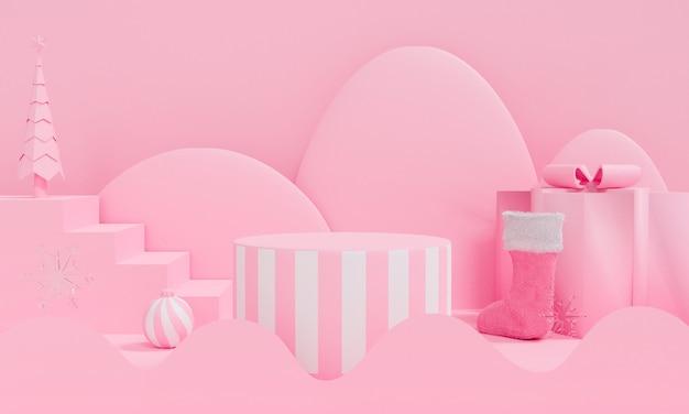 Streszczenie boże narodzenie różowy podium na pastelowym tle.