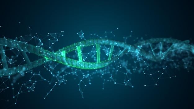 Streszczenie cyfr cząsteczka skanująca dna dla biologii, biotechnologii, chemii, nauki, medycyny, kosmetyków, medycyny, tła