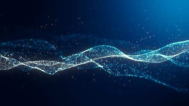 Streszczenie cyfrowa fala koloru niebieskiego z płynącym ruchem małych cząstek tańczy na fali i jasnym abstrakcyjnym tle. tło cyber lub technologii.
