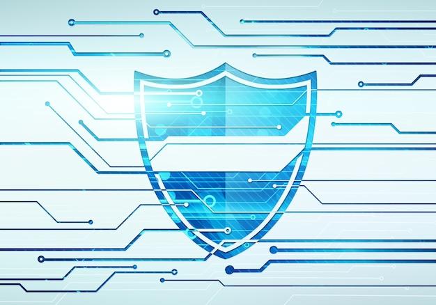 Streszczenie cyfrowa ilustracja koncepcja bezpieczeństwa i ochrony danych internetowych z tarczą na ścianie mikroczipa obwodu.