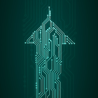 Streszczenie cyfrowa ilustracja płyty z mikroczipem w kształcie strzałki poruszającej się w górę na ciemnozielonej ścianie. obraz koncepcji technologii.