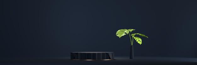 Streszczenie czarne podium platformy sceny, do wyświetlania produktów reklamowych, renderowania 3d.
