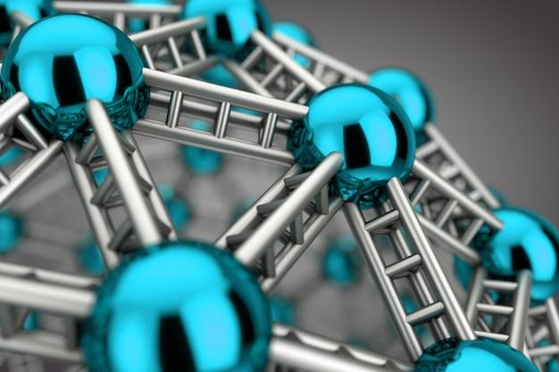 Streszczenie cząsteczki naukowej metalu lub ekstremalne zbliżenie atomu. renderowanie 3d
