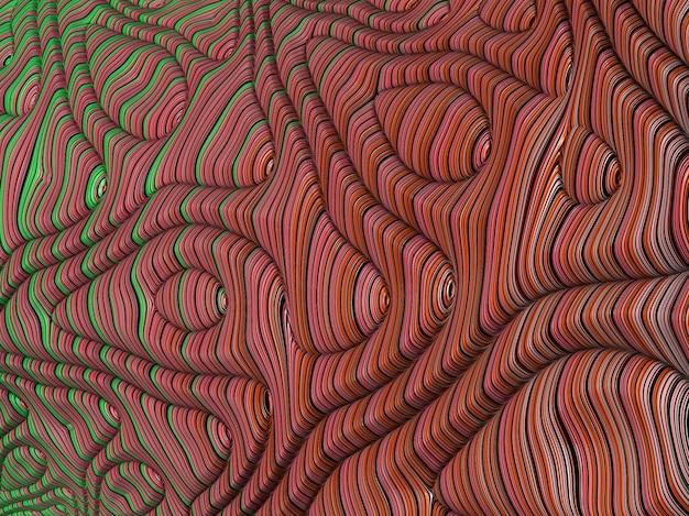 Streszczenie czerwone i zielone teksturowane fraktali linii i fal, 3d render.
