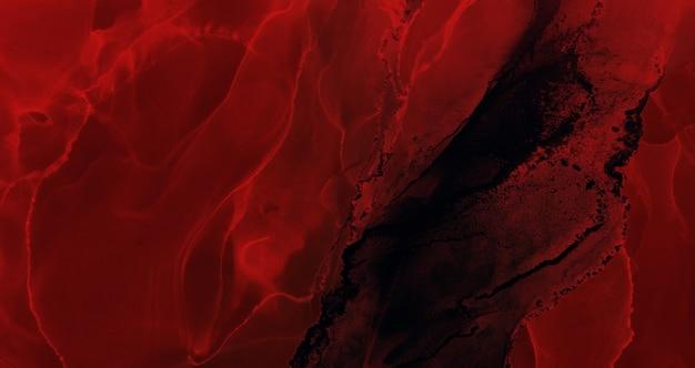Streszczenie czerwone niebo egzoplanety oceanu, tło atramentu alkoholowego, wybuch lawy, szkarłatne plamy i plamy, akrylowe materiały do drukowania tapet