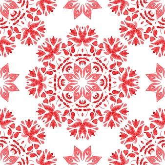 Streszczenie czerwony i biały ręcznie rysowane dachówka bezszwowe ozdobne farby akwarelowe wzór.