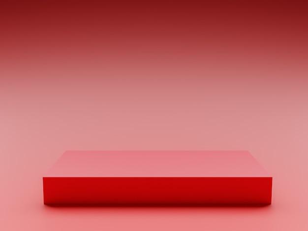 Streszczenie czerwonym tle z koncepcją figury geometrycznej i pustej przestrzeni