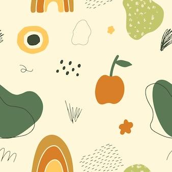 Streszczenie doodle wzór ręcznie rysowane kształty obiektów i tekstur we współczesnym stylu