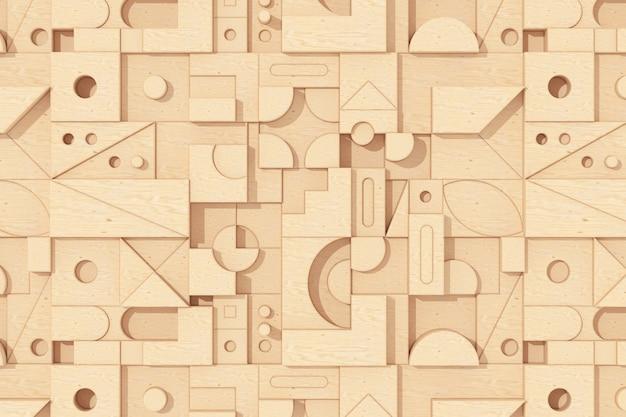 Streszczenie drewniane geometryczne kształty blokujące tło ekstremalne zbliżenie. renderowanie 3d