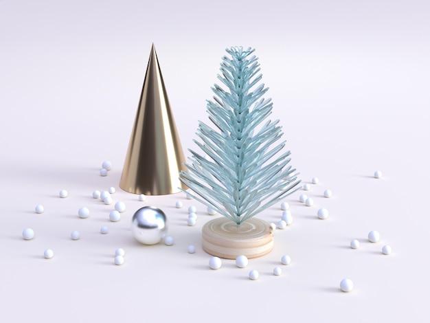 Streszczenie drzewo zielone jasne złoto stożek dekoracji zima nowy rok koncepcja renderowania 3d