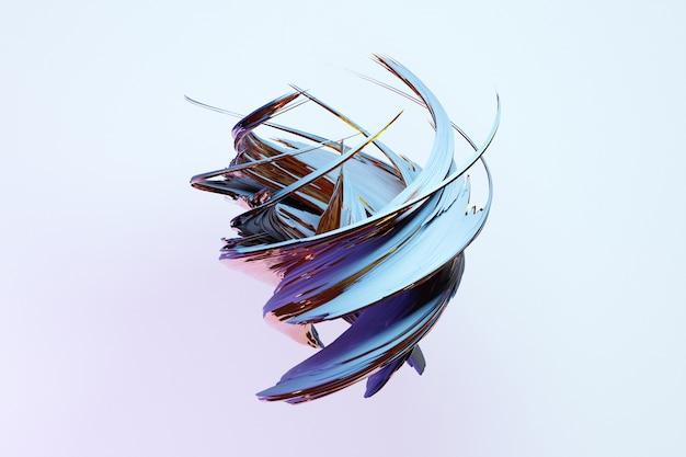Streszczenie dynamiczny kształt kropli z niebieskimi gładkimi przedmiotami, boki na białym tle na białym tle. ilustracja i renderowanie 3d. elegancka linia tła.