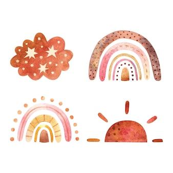 Streszczenie dzieci akwarela raindow zestaw clipart z boho tęczy ilustracja sztuki przedszkola w modnym skandynawskim stylu