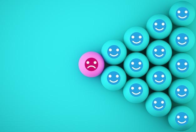 Streszczenie emocji twarzy szczęścia i smutku, wyjątkowy, myśl inaczej, indywidualny i wyróżniający się z tłumu. sferyczny z ikoną na niebieskim tle.