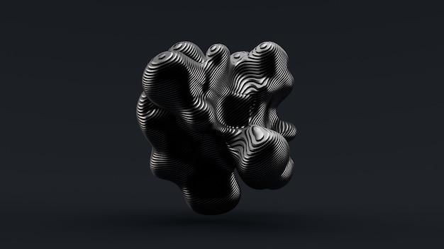 Streszczenie formularza na czarnym tle. ilustracja, renderowanie 3d.
