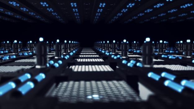 Streszczenie futurystyczna powierzchnia, niekończący się korytarz