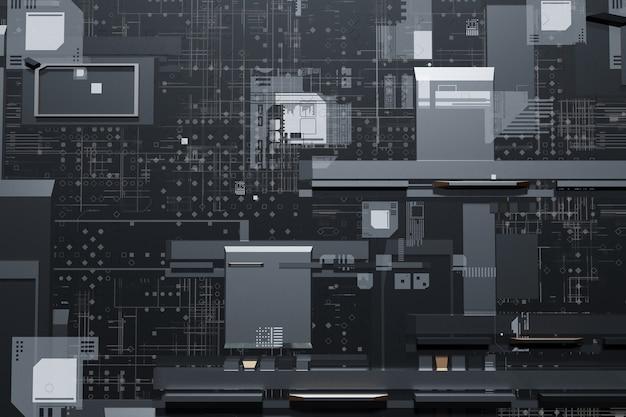 Streszczenie futurystyczna technologia obwodami drukowanymi tła renderowania 3d