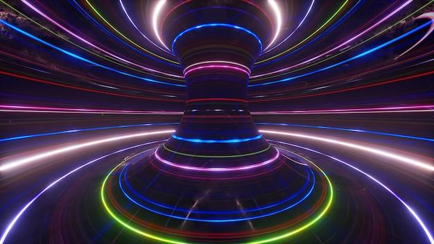 Streszczenie futurystyczne neonowe tło z obracającymi się świecącymi liniami prędkość światła ultrafioletowego