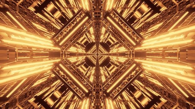 Streszczenie futurystyczne tło science fiction ze złotymi neonami